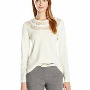 Vince Camuto Lace Cut Out Crew Neck Sweater